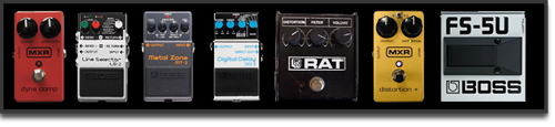 2006 / MXR Dyna Comp, Boss LS-2 Line Selector, Boss MT-2 Metal Zone ou Boss CS-3, Boss DD-3, Pro-Co Rat, MXR Dist+, Boss FS-5U,